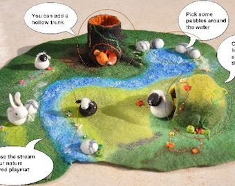 Play mat Size L Custom Nature Inspired Playscape Pretend Play Play-mat Waldorf Inspired Felted Birthday Present Christmas