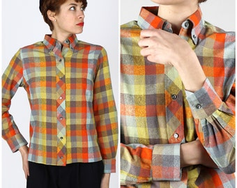 Vintage 1960s Pure Silk Rainbow Plaid Button-Up by Lady Van Heusen | Small/Medium
