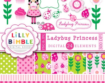 Ladybug Clipart and Digital Papers in pink and green with ladybugs, cupcakes,