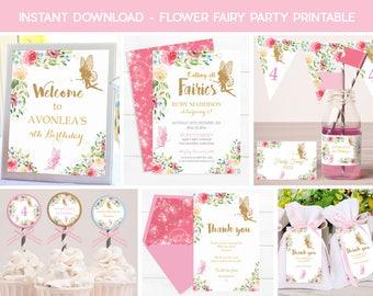 FAIRY INVITATIONS, Instant download Fairy Printable, Fairy Party, Flower Fairy Invitation, Gold Fairy Invitation, Fairy Decorations, Pink