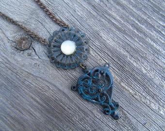 Blue opal heart necklace