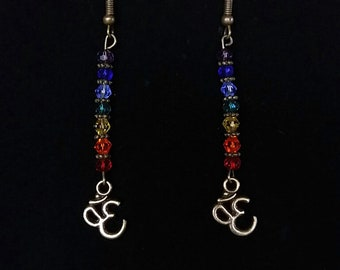 Bronze Buddhist Chakra Swarovski Crystal Earrings