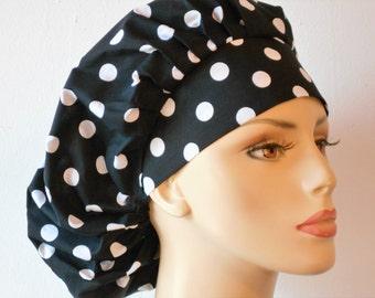 Scrub Hats Bouffant Surgical Scrub Hat - Large Black with White Polka Dot's  Medical Scrub Hat