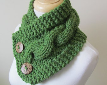 """Chunky Cable Neck Warmer Knit Thick Grass Green Scarf Wool Blend 6"""" x 25"""" - Coconut Shell Buttons Ready to Ship - Gift for Her"""
