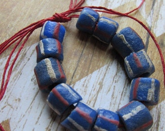 Red White Blue African Krobo Bead, African Trade Bead, Ghana Bead, Glass Bead, African Glass Beads, Blue Beads, Beads