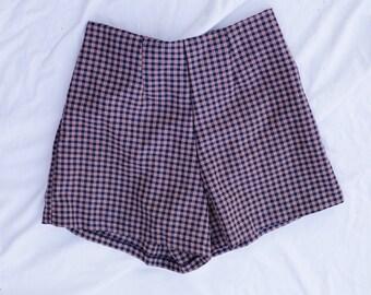 90s Tartan High Waist Tinsel Frilly Shorts 60s 70s Shorts Summer Festival Party