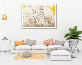 Olive Tree Giclée Art Print, Blush pink decor, Olive Branches, Olive Leaves, Original Painting, Purple and Green Olives #902BO