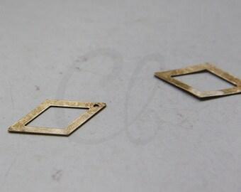4pcs Antique Brass Rhombus Charm - 26x14mm (3030C-M-408)