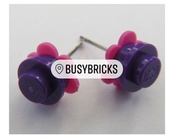 Lego Brick Flower Stud Earrings