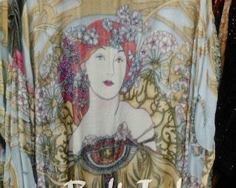 Art Deco Noveaux Mucha Summer Lady Kimono Gypsy Duster