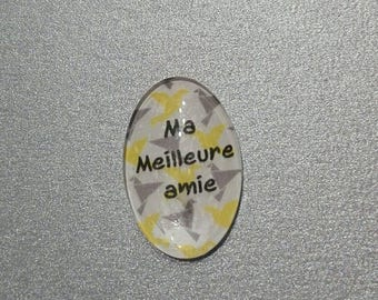 """cabochon glass 25 x 18. Japanese pattern """"origami. my best friend' yellow and gray"""