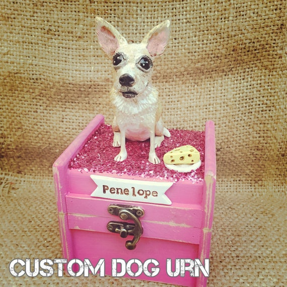 Personalized Pet Urn clay folk art sculpture or memorial based on your pets photo Small