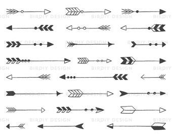 Rustic Arrow Clipart - Tribal Arrow Clipart - Rustic Wedding Clipart - Rustic Clipart - AI EPS PNG Files - Instant Download