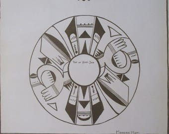 1930 Hopi designs and motif, Circle by Nampeyo. Antique Original Inez Westlake/Perleberg Lithograph. Native American Indian