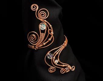 Swarovski crystals  copper Arm Cuff  ,Swarovski crystals copper wire wrapped Upper Arm Cuff, Adjustable Arm Cuff, Upper armlet ,