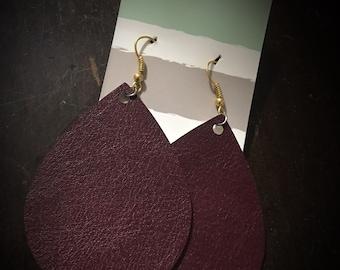 Burgundy Faux Leather Drop Earrings