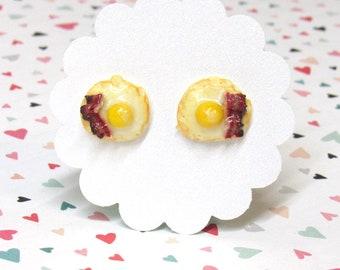 Bacon and Egg Earrings, Food Earrings, Stud Earrings, Miniature Food Jewelry, Fun Earrings, Nickel Free, Funny Friend Gift, Bacon Earrings