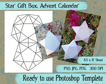 "Digital Template: ""Star Advent Calendar"" DIY Digital Christmas Star Advent Calendar Favor Bag Photoshop Template Crafting Supplies"