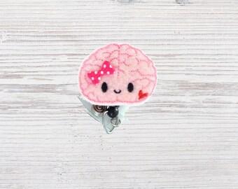 Felt Nurse Badge Reel | Planner Clip | Neurologist | Neurology | Brain | ID Badge | Nurse Gift | Badge Clip | Retractable | Badge Holder