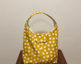 Insulated Lunch Bag - Mustard Yellow With White Dots