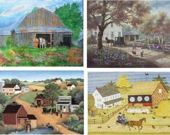 Lot Of 4 Amish Landscape Fabric Panel Quilt Squares