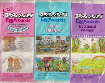 Vintage / PAAS (r) / Egg Arounds Heat Shrinkable Egg Wrappers /  Shrink Wraps / Egg Sleeves / Variety / Three Packages