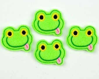 FROG (w/tongue) - Embroidered Felt Embellishments / Appliques - Green  (Qnty of 4) SCF6095