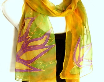 Hand Painted Silk Scarf, Floral, Yellow Green Purple, Handpainted Silk Scarf, Silk Chiffon Scarf, Gift For Her
