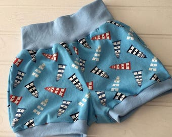 Children's Summer shorts, lighthouse shorts, blue shorts, sizes newborn to 6 years, bubble shorts, ready to ship, size 2 years, size 3 years
