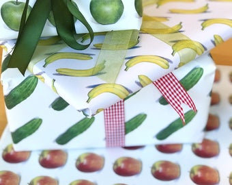 """Giftwrap Bundle, All Four, Fruit & Veg Wrapping Paper, High Quality Giftwrap, 20X29"""", Apples, Bananas, Pickles, Art Wrapping Paper, Cooks"""