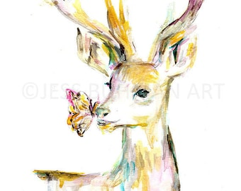 "Deer Watercolor Painting Print, 11"" x 14"" Deer Poster Print, Deer Illustration, Buck Painting, Buck Watercolor, Antlers Painting, Deer Art"