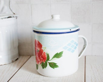 Lovely Vintage Enamel Floral and Geometric Decor Mug || Enamelware - Retro Home Decor