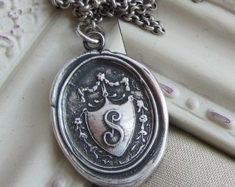 Wax Seal Monogram Initial S Antique Crest Necklace - Antique Victorian Wax Seal Jewelry - M240