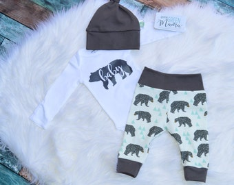 Baby bear newborn outfit, baby bear boy outfit, baby bear, newborn take home outfit, newborn coming home outfit, boy take home outfit