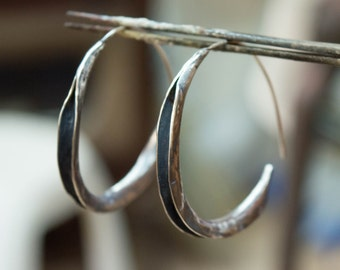 Hoop earrings, Hoop earrings silver, Sterling silver earrings, Rustic hoop earrings, bohemian earrings , Medium hoop earrings, Handmade