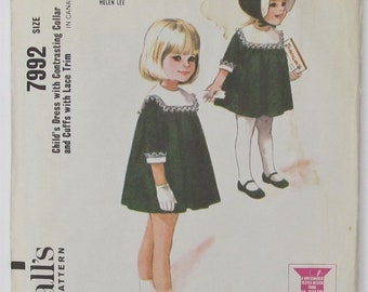 Dress Gathered To Yoke At Back And Front Square Collar Bias Cuffs Girl's Size 6 Children's Sewing Pattern McCall's 7992