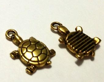 Turtle Charms - 10 pcs. - Gold Turtle Charm - Turtle Pendant - Tortoise Charms