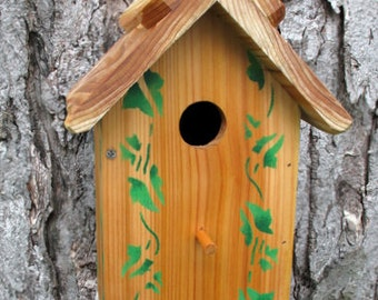 Unique one of a kind Handcrafted Bird house Outdoor wood, oil finished - Ivy stencil- Made in USA fully functional
