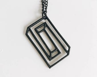 Black Geometric Maze Necklace / B