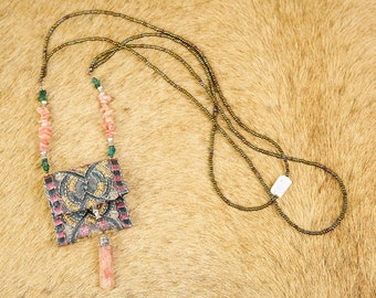 255-24. Kemiot with Necklace talisman bag of bohemian style medicines green color with salmon details
