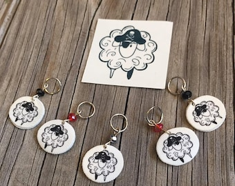 Pirate Sheep Knitting Stitch Markers set of 5 with temporary tattoo Limited Edition