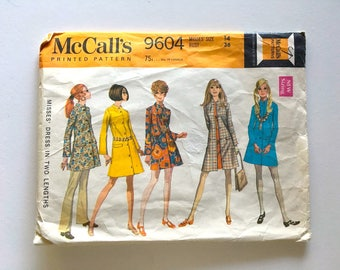 Vintage Sewing Pattern Women's 60's McCall's 9604, Dress In Two Lengths (M)