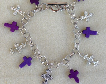 Spiritual Theme Bracelet With Purple Howlite Crosses and Silvertone Crosses