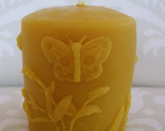 Handmade 100% Beeswax Candle - Butterfly with Lilac Flowers Pillar