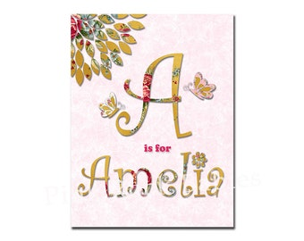 Gold pink personalized nursery wall decor kids room print baby girl customized art name artwork custom typography poster baby shower gift