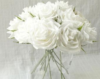 White roses/ Wedding bouquet/ Paper decor/ Gift anniversary/ Bridal flower/ Table centerpiece/ Baby shower/ Nursery decoration white flower