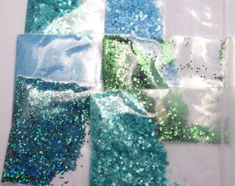Green Solvent Resistant Glitter x 5 Sample Pack 15g