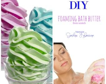 DIY - From Scratch - Foaming Bath Butter Base  pdf E-book - Bonus Formula - Marshmallow Cream Body Wash Cubes
