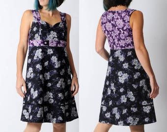 Sleeveless floral dress, black and purple floral dress, empire waist, Black womens cotton dress, Sleeveless cotton dress, MALAM