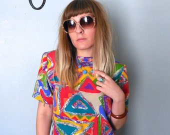 Vintage 80s Short Sleeved Colorful Abstract Blouse, Womens blouse, Size S/M
